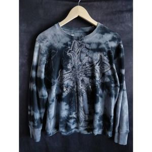 Ring Of Fire Blue Thermal Knit Tie Dye Sweater M